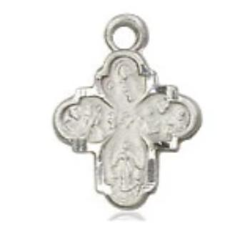 4 Way Medal - Sterling Silver - 3/8 Inch Tall x 1/4 Inch Wide
