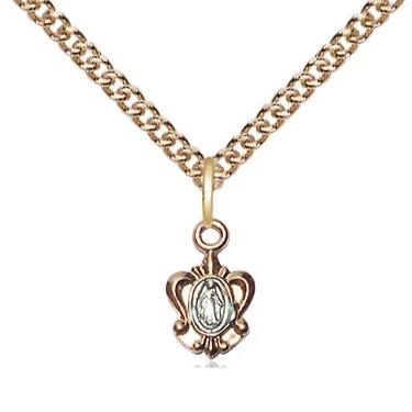 "Miraculous Medal Necklace - 14K Gold - 3/8 Inch Tall by 1/4 Inch Wide with 24"" Chain"