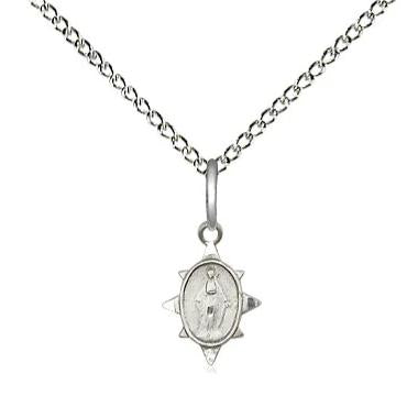 "Miraculous Medal Necklace - Sterling Silver - 3/8 Inch Tall by 1/4 Inch Wide with 18"" Chain"