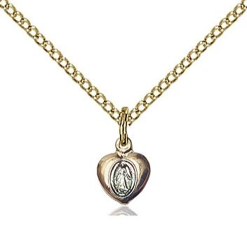 "Miraculous Medal Necklace - 14K Gold Filled - 1/4 Inch Tall by 1/8 Inch Wide with 18"" Chain"