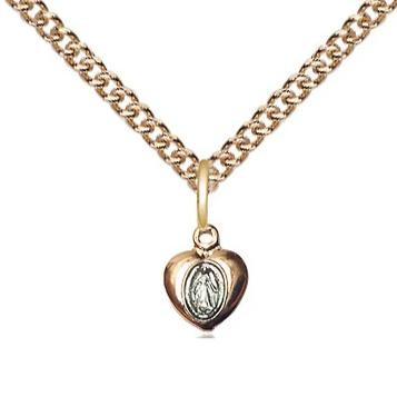 "Miraculous Medal Necklace - 14K Gold Filled - 1/4 Inch Tall by 1/8 Inch Wide with 24"" Chain"