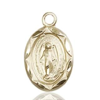 Miraculous Medal - 14K Gold - 1/2 Inch Tall by 1/4 Inch Wide