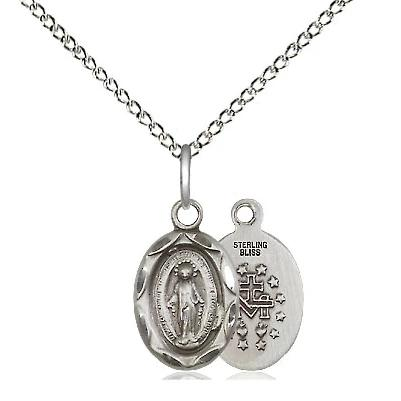"Miraculous Medal Necklace - Sterling Silver - 1/2 Inch Tall by 1/4 Inch Wide with 18"" Chain"
