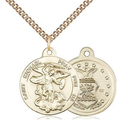 "St. Michael Air Force Medal Necklace - 14K Gold Filled - 7/8 Inch Tall x 3/4 Inch Wide with 24"" Chain"