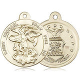 "St. Michael Air Force Medal Necklace - 14K Gold Filled - 7/8 Inch Tall x 3/4 Inch Wide with 18"" Chain"