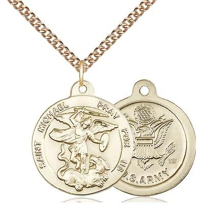 "St. Michael Army Medal Necklace - 14K Gold Filled - 7/8 Inch Tall x 3/4 Inch Wide with 24"" Chain"