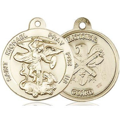 "St. Michael National Guard Medal Necklace - 14K Gold Filled - 7/8 Inch Tall x 3/4 Inch Wide with 24"" Chain"