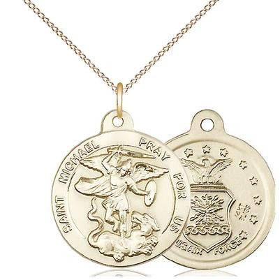 "St. Michael Air Force Medal Necklace - 14K Gold - 7/8 Inch Tall x 3/4 Inch Wide with 18"" Chain"