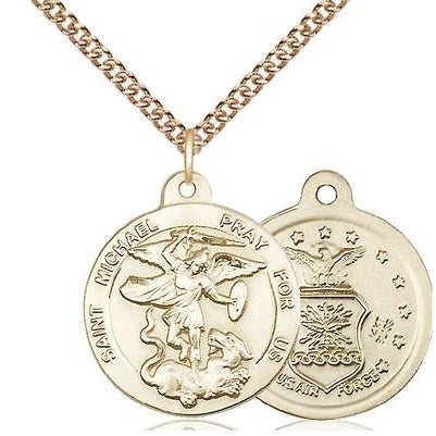 "St. Michael Air Force Medal Necklace - 14K Gold - 7/8 Inch Tall x 3/4 Inch Wide with 24"" Chain"