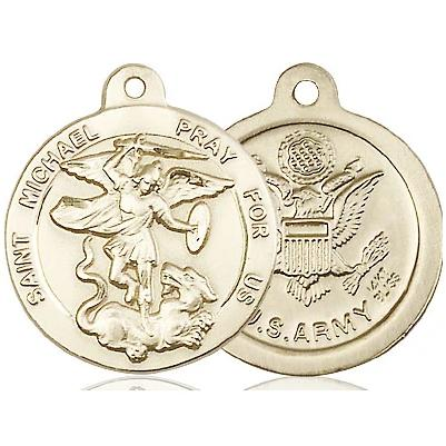 St. Michael Army Medal - 14K Gold - 7/8 Inch Tall x 3/4 Inch Wide