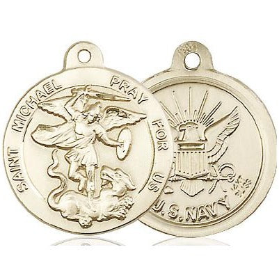 "St. Michael Navy Medal Necklace - 14K Gold - 7/8 Inch Tall x 3/4 Inch Wide with 24"" Chain"
