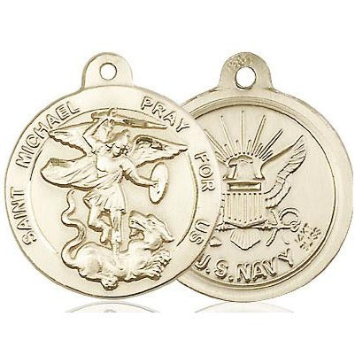 "St. Michael Navy Medal Necklace - 14K Gold - 7/8 Inch Tall x 3/4 Inch Wide with 18"" Chain"
