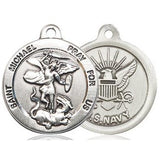 St. Michael Navy Medal - Pewter - 7/8 Inch Tall x 3/4 Inch Wide