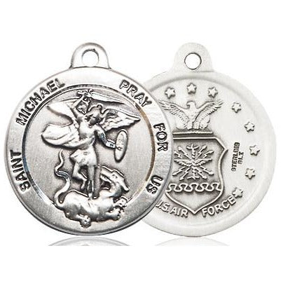 St. Michael Air Force Medal - Sterling Silver - 7/8 Inch Tall x 3/4 Inch Wide