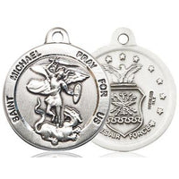 "St. Michael Air Force Medal Necklace - Sterling Silver - 7/8 Inch Tall x 3/4 Inch Wide with 18"" Chain"