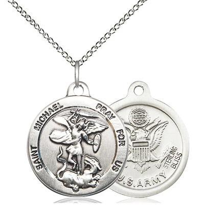 "St. Michael Army Medal Necklace - Sterling Silver - 7/8 Inch Tall x 3/4 Inch Wide with 18"" Chain"