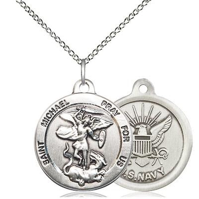 "St. Michael Navy Medal Necklace - Sterling Silver - 7/8 Inch Tall x 3/4 Inch Wide with 18"" Chain"