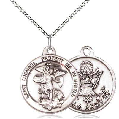 "St. Michael Army Medal Necklace - Sterling Silver - 7/8 Inch Tall x 1-3/8 Inch Wide with 18"" Chain"
