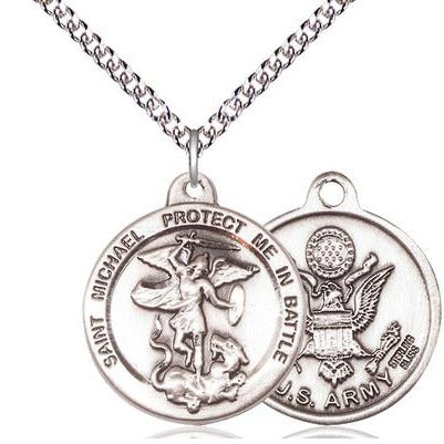 "St. Michael Army Medal Necklace - Sterling Silver - 7/8 Inch Tall x 1-3/8 Inch Wide with 24"" Chain"