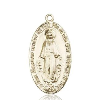 Miraculous Medal - 14K Gold - 1-3/8 Inch Tall by 3/4 Inch Wide