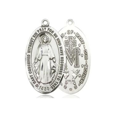 Miraculous Medal - Pewter - 1-3/8 Inch Tall by 3/4 Inch Wide