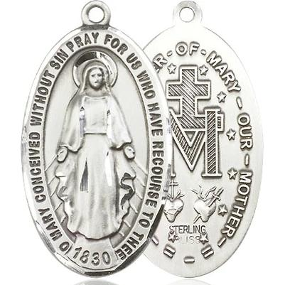 "Miraculous Medal Necklace - Sterling Silver - 1-3/8 Inch Tall by 3/4 Inch Wide with 18"" Chain"