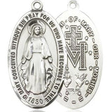 "Miraculous Medal Necklace - Sterling Silver - 1-3/8 Inch Tall by 3/4 Inch Wide with 24"" Chain"