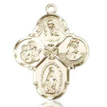 4 Way Medal - 14K Gold - 1-1/8 Inch Tall x 7/8 Inch Wide