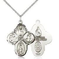 "4 Way Medal Necklace - Sterling Silver - 1-1/8 Inch Tall by 7/8 Inch Wide with 18"" Chain"