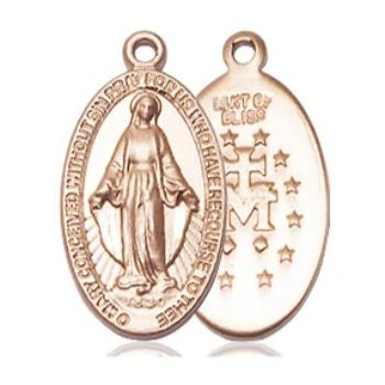 Miraculous Medal - 14K Gold Filled - 3/4 Inch Tall by 3/8 Inch Wide