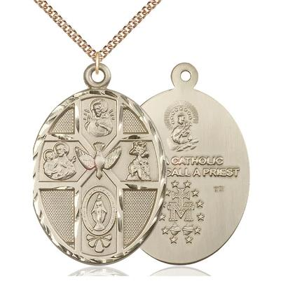 "5 Way Medal Necklace - 14K Gold Filled - 1-7/8 Inch Tall by 1-1/4 Inch Wide with 24"" Chain"
