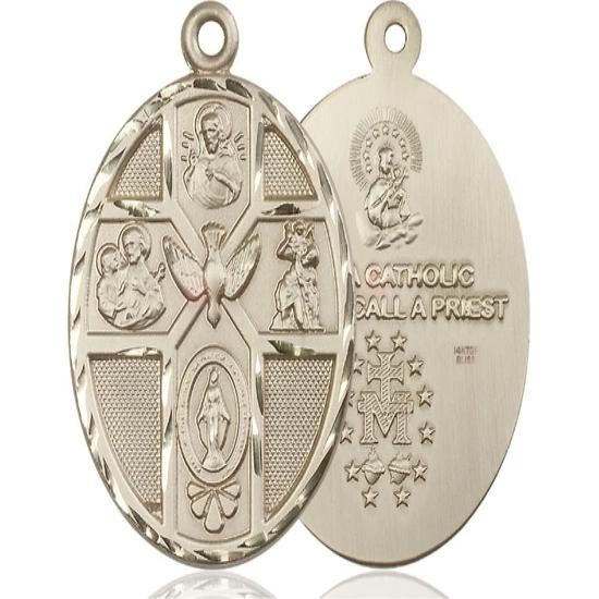 5 Way Medal - 14K Gold Filled - 1-7/8 Inch Tall x 1-1/4 Inch Wide
