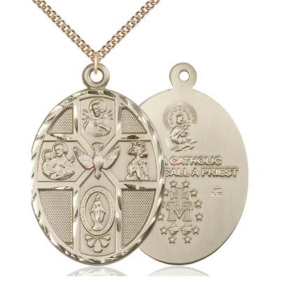 "5 Way Medal Necklace - 14K Gold - 1-7/8 Inch Tall by 1-1/4 Inch Wide with 24"" Chain"