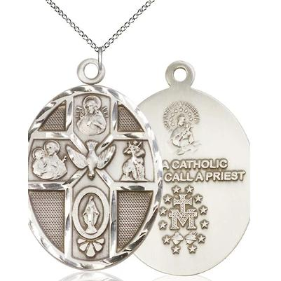 "5 Way Medal Necklace - Sterling Silver - 1-7/8 Inch Tall by 1-1/4 Inch Wide with 18"" Chain"