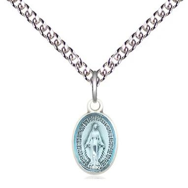 "Miraculous Medal Necklace - Sterling Silver - 1/2 Inch Tall by 1/4 Inch Wide with 24"" Chain"