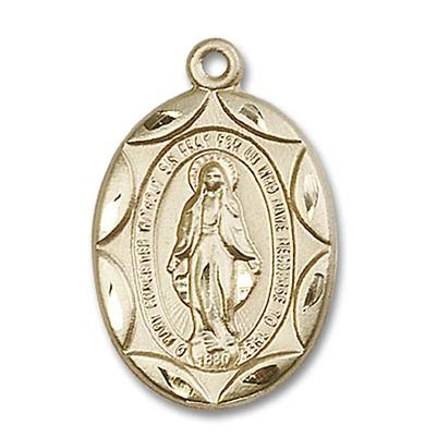 Miraculous Medal - 14K Gold Filled - 1 Inch Tall by 5/8 Inch Wide