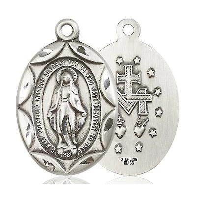 "Miraculous Medal Necklace - Sterling Silver - 1 Inch Tall by 5/8 Inch Wide with 24"" Chain"