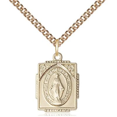 "Miraculous Medal Necklace - 14K Gold Filled - 5/8 Inch Tall by 1/2 Inch Wide with 24"" Chain"