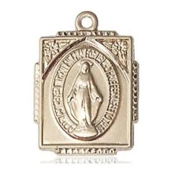 Miraculous Medal - 14K Gold - 5/8 Inch Tall by 1/2 Inch Wide