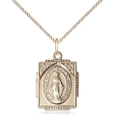"Miraculous Medal Necklace - 14K Gold - 5/8 Inch Tall by 1/2 Inch Wide with 18"" Chain"