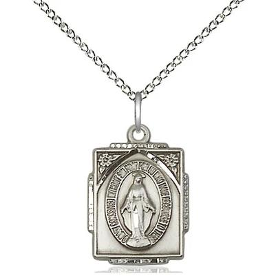 "Miraculous Medal Necklace - Sterling Silver - 5/8 Inch Tall by 1/2 Inch Wide with 18"" Chain"