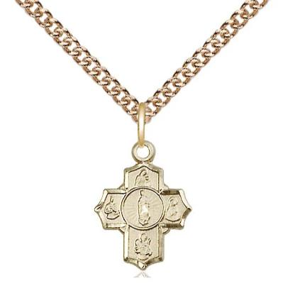 "5 Way Medal Necklace - 14K Gold Filled - 1/2 Inch Tall by 3/8 Inch Wide with 24"" Chain"