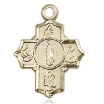 5 Way Medal - 14K Gold Filled - 1/2 Inch Tall x 3/8 Inch Wide
