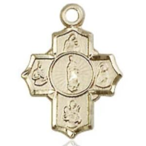 5 Way Medal - 14K Gold - 1/2 Inch Tall x 3/8 Inch Wide