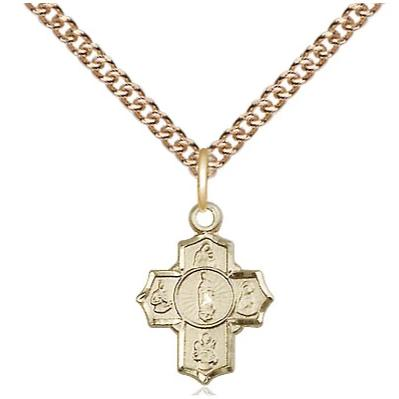 "5 Way Medal Necklace - 14K Gold - 1/2 Inch Tall by 3/8 Inch Wide with 24"" Chain"