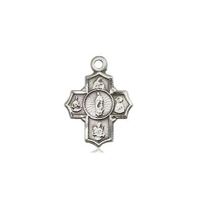 "5 Way Medal Necklace - Sterling Silver - 1/2 Inch Tall by 3/8 Inch Wide with 24"" Chain"