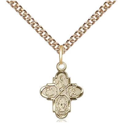 "4 Way Medal Necklace - 14K Gold Filled - 1/2 Inch Tall by 3/8 Inch Wide with 24"" Chain"
