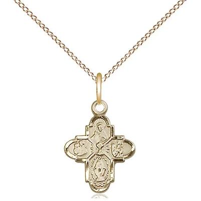 "4 Way Medal Necklace - 14K Gold - 1/2 Inch Tall by 3/8 Inch Wide with 18"" Chain"
