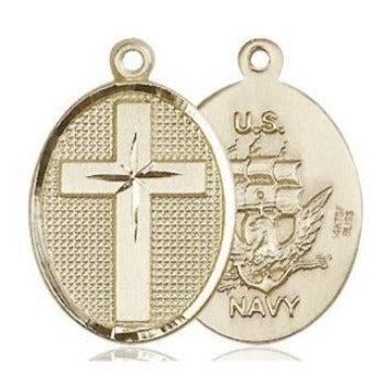 Cross Navy Medal - 14K Gold Filled - 7/8 Inch Tall x 1/2 Inch Wide