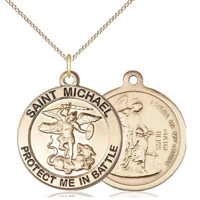 "St. Michael Army Medal Necklace - 14K Gold Filled - 1 Inch Tall x 7/8 Inch Wide with 18"" Chain"